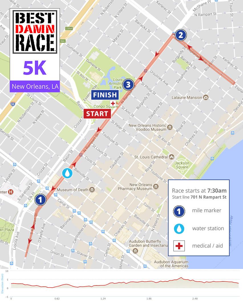 New Orleans, LA - 5K Map - Best Damn Race March 25, 2018