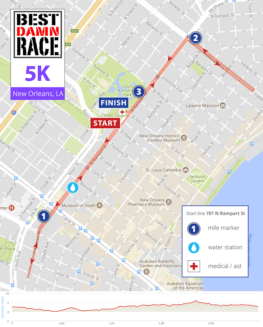 new orleans la 5k map best damn race