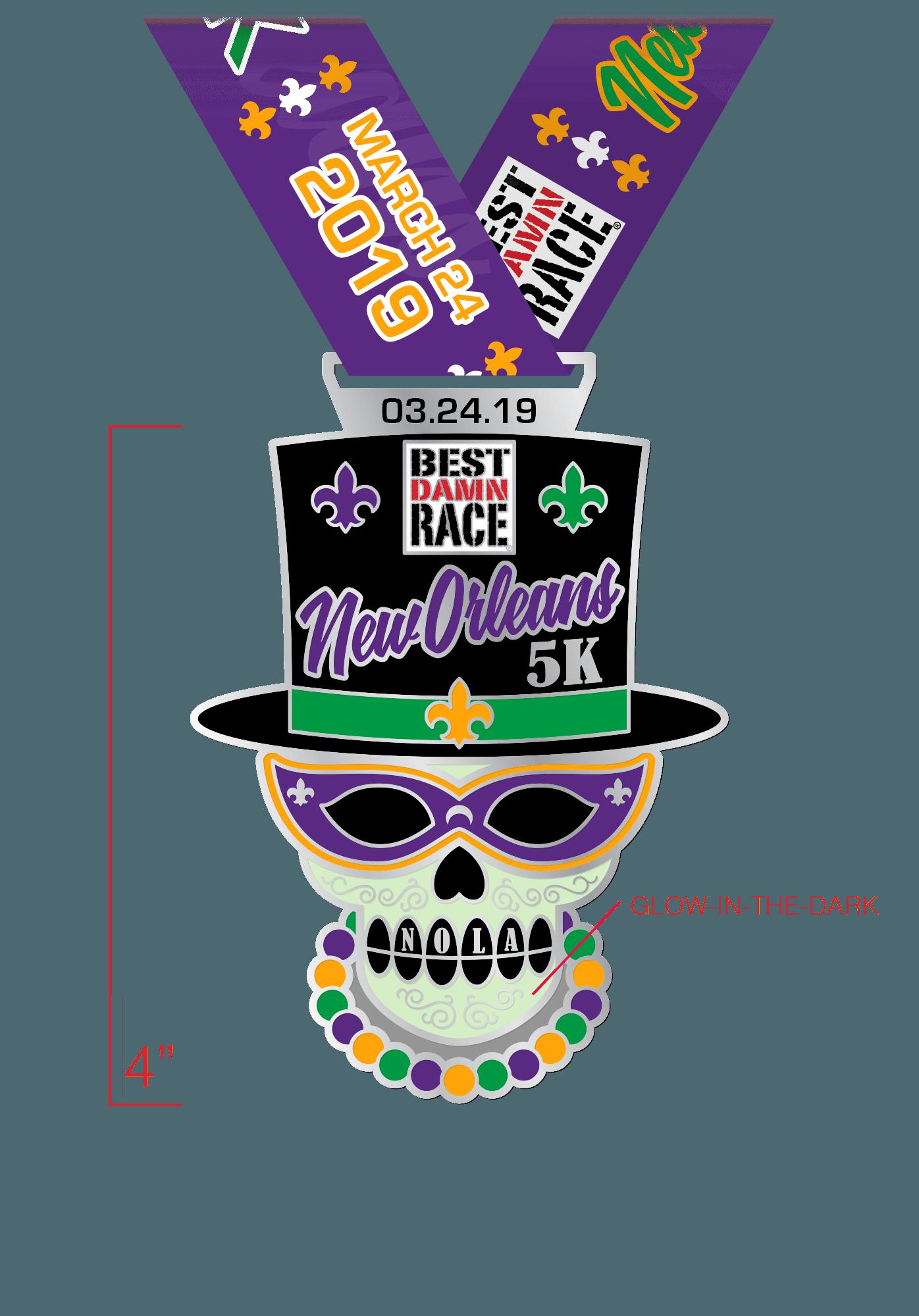 5K Medal - New Orleans 2018 - Best Damn Race