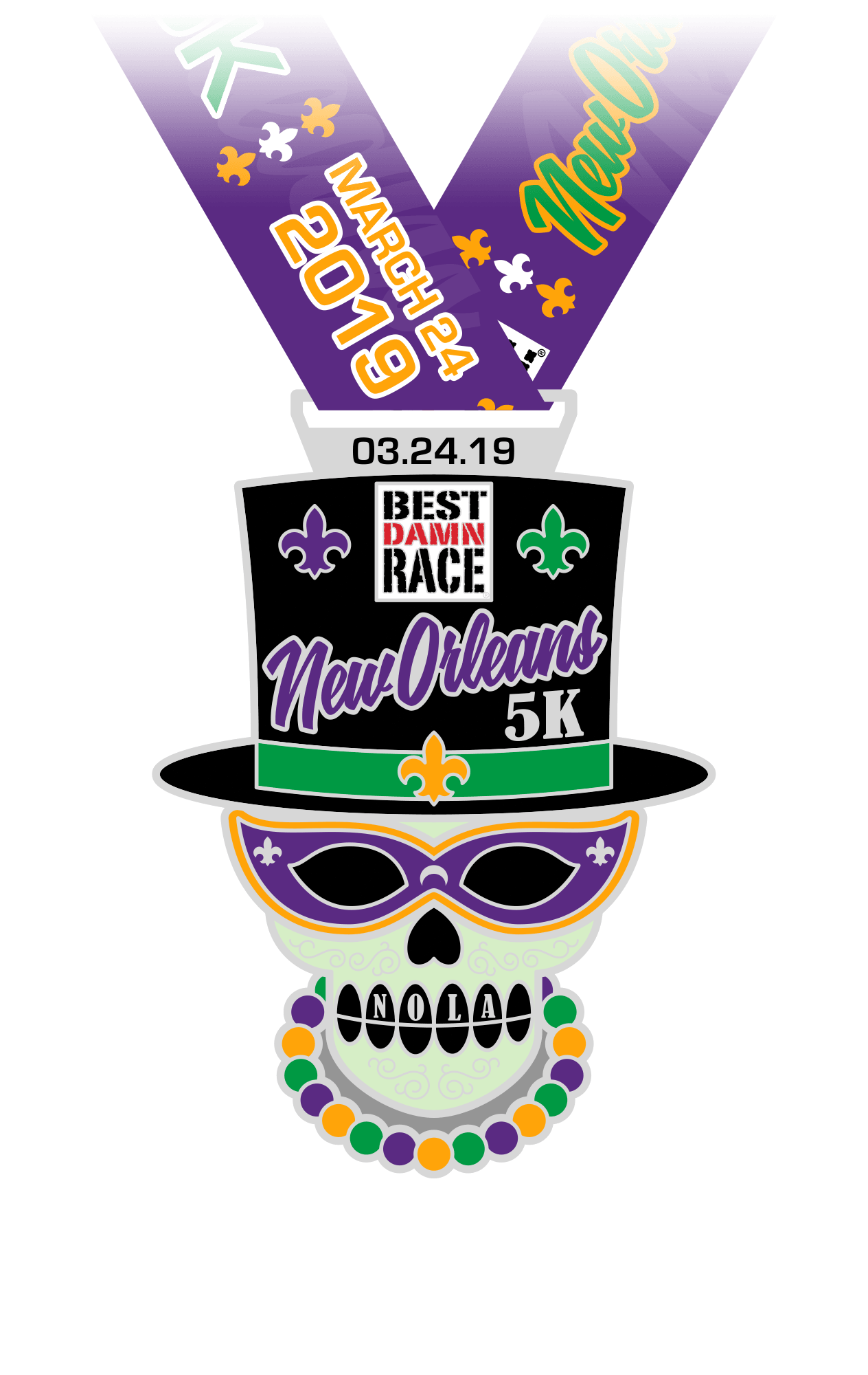 5K Medal - New Orleans 2018 - Best Damn Race