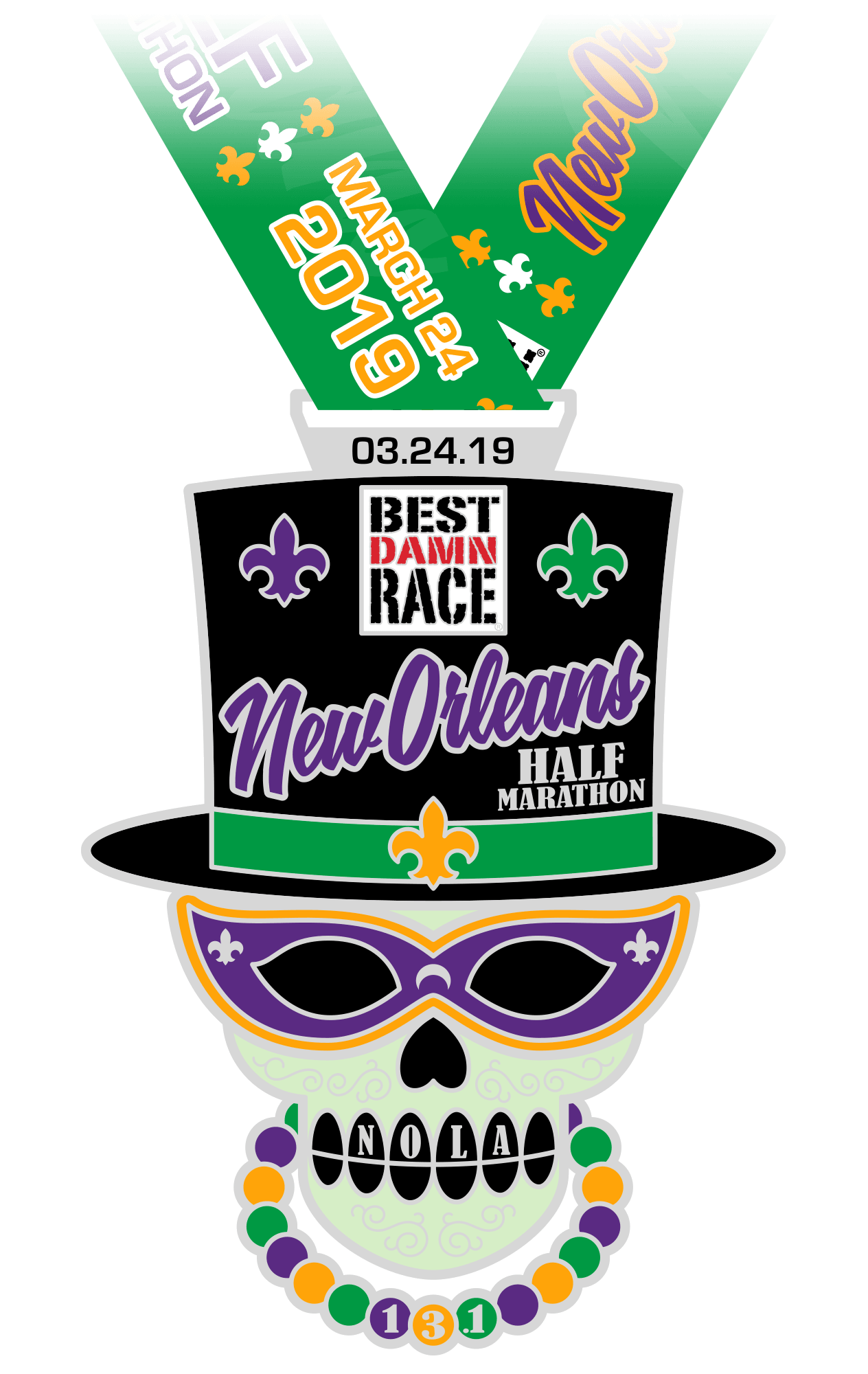 Half Marathon Medal - New Orleans 2018 - Best Damn Race