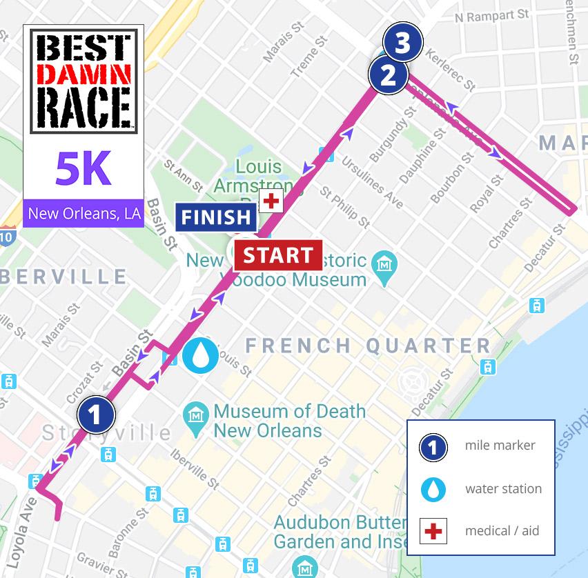 Best Damn Race - New Orleans - 5K Course Map